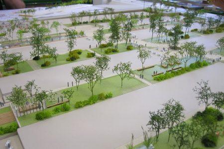 Aménagements des jardins avant pose des bâtiments des grandes serres de Pantin