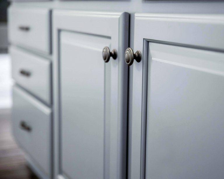 Closeup of repainted island kitchen cabinets in Santa Clarita