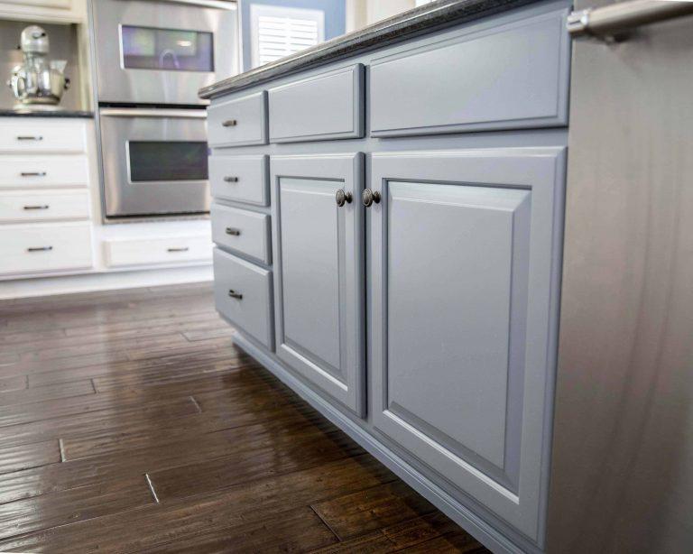 Repainted island kitchen cabinets in Santa Clarita