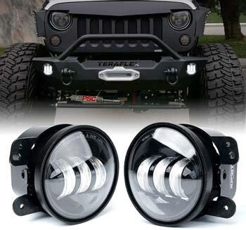 9: Xprite 4 Inch LED Fog Lights for 2007-2018 Jeep Wrangler JK Unlimited JK
