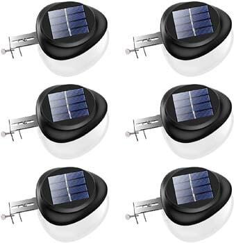 1: JSOT Solar Gutter Lights Newest 9 LED Outdoor Fence Light