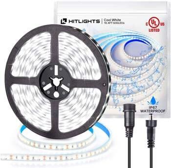 7: HitLights LED Strip Lights IP67 Waterproof High Density 16.4ft 5000K Cool White LED Tape Light
