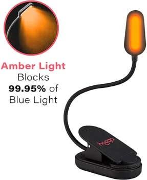 2: Hooga Book Light, Blue Light Blocking, Amber Clip-On Reading Light