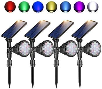 8: Outdoor Solar Spot Lights, Super Bright 18 LED Security Lamps Waterproof Spotlight