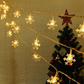 10: ANJAYLIA Christmas Lights Snowflake String Lights