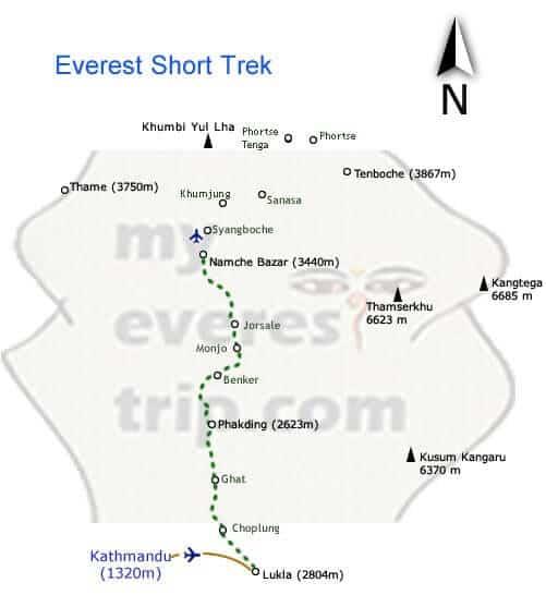 Everest short trip map