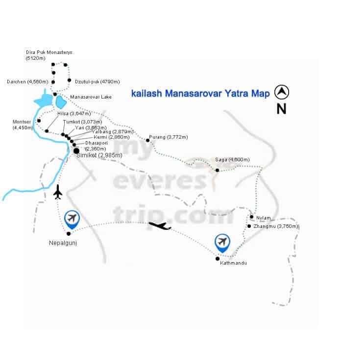 Kailash mansarovar yatra map