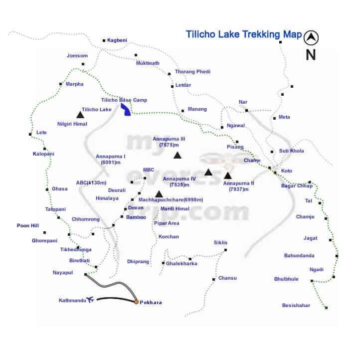 Tilicho lake trekking map