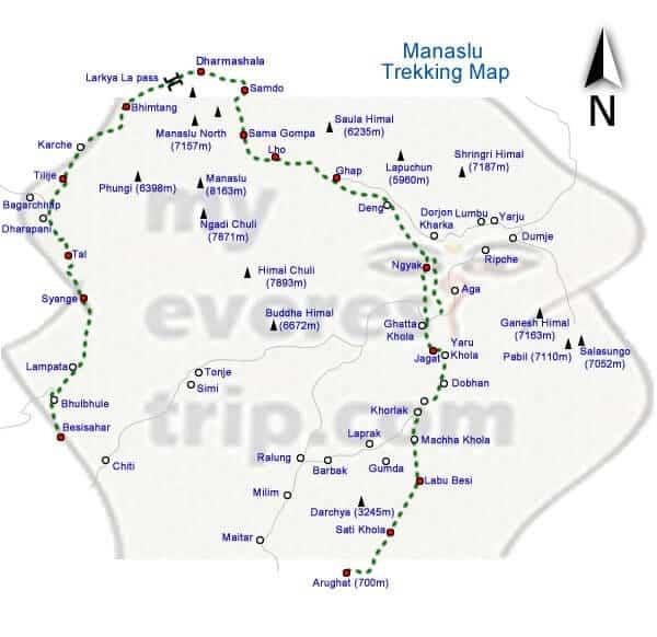 Manaslu trekking map
