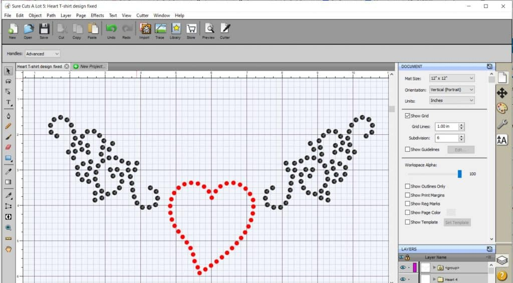 A quick Rhinestone design created in SCAL 5 for the Brother Scan N Cut
