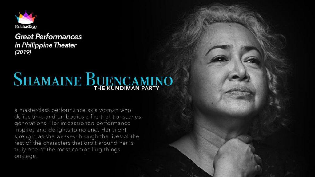 Great Performances in Philippine Theater 2019 - Shamaine Buencamino