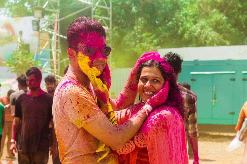 Holi Festival in India Couple Celebrating