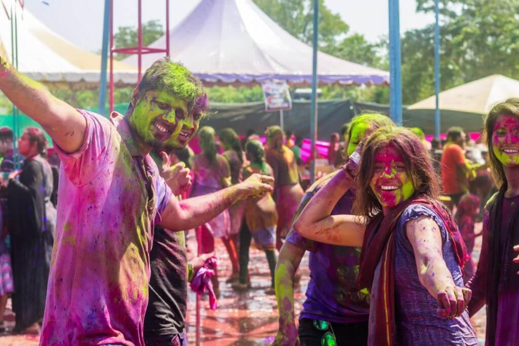Holi Festival in India Friends Celebrating