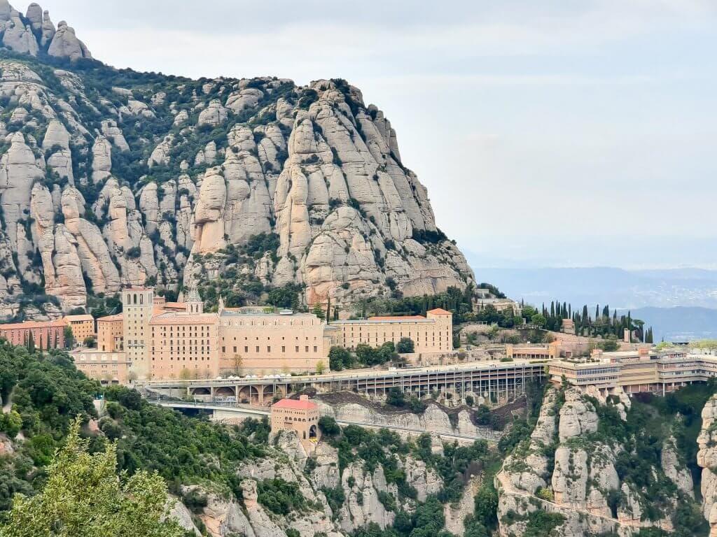 Montserrat - day trip from Barcelona - panoramic view of Montserrat Monastery