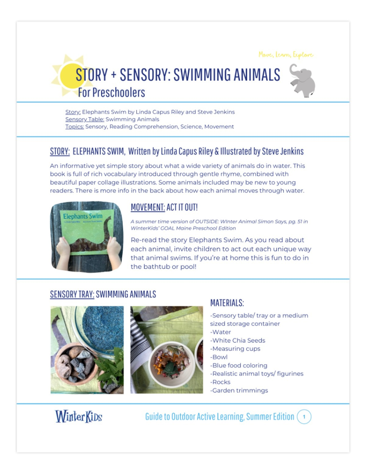 Story Sensory Swimming Animals Printable Preview page 1
