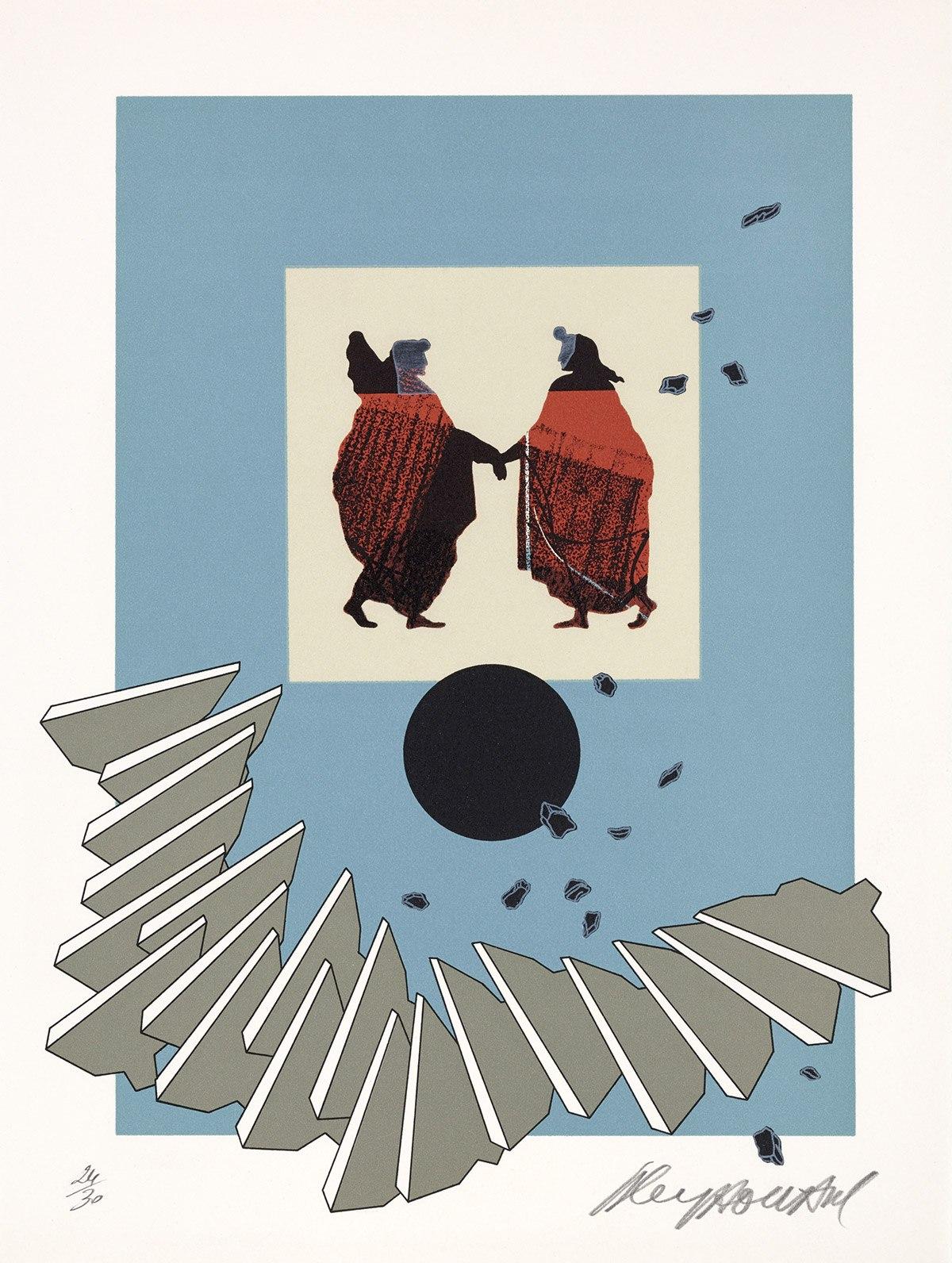 Sans-titre, 1977. Lithographie originale en couleurs tirée à 30 exemplaires sur Japon nacré et 30 exemplaires sur vélin d'Arches. Impression: Art Lithos. 32 x 43 cm.