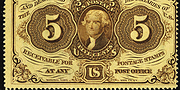 1862 1st Issue 5 Cent Specimen One Sided Blank