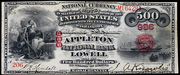 1863 $500 National Bank Notes Red Seal with rays