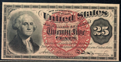 1863 4th Issue 25 Cent Note Large Red Seal