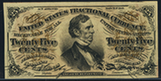 1863 3rd Issue 25 Cent Specimen One Sided Blank