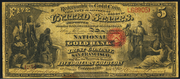 1872 $5 The National Gold Bank Note of California Red Seal
