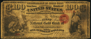 1873 $100 The National Gold Bank Note of California Red Seal