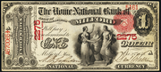1875 $1 National Bank Notes Red Seal with scallops