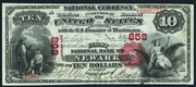 1875 $10 National Bank Notes Red Seal with scallops