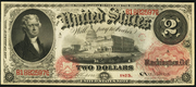 1875 $2 Legal Tender Red Seal with rays