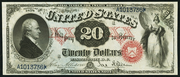 1878 $20 Legal Tender Red Seal with rays