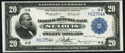 1918 $20 Federal Reserve Bank Note Blue Seal