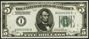 1928 $5 Federal Reserve Note Green Seal