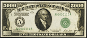 1928 $5000 Federal Reserve Note Green Seal