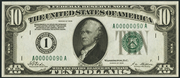 1928 $10 Federal Reserve Note Green Seal
