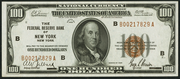 1929 $100 Federal Reserve Bank Note Brown Seal