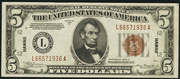 1934A $5 World War II Emergency Note Brown Seal