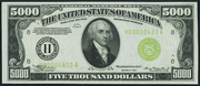 1934A $5000 Federal Reserve Note Green Seal
