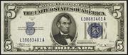 1934B $5 Silver Certificates Blue Seal