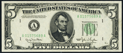 1950A $5 Federal Reserve Note Green Seal