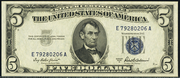 1953A $5 Silver Certificates Blue Seal