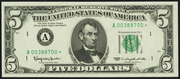 1963 $5 Federal Reserve Note Green Seal
