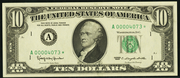 1963 $10 Federal Reserve Note Green Seal