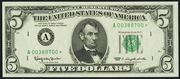 1969A $5 Federal Reserve Note Green Seal