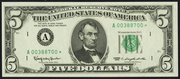 1977 $5 Federal Reserve Note Green Seal
