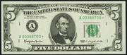 1981 $5 Federal Reserve Note Green Seal