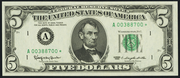 1981A $5 Federal Reserve Note Green Seal