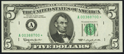 1988 $5 Federal Reserve Note Green Seal