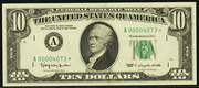 1993 $10 Federal Reserve Note Green Seal