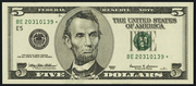 1999 $5 Federal Reserve Note Green Seal