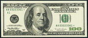 1999 $100 Federal Reserve Note Green Seal